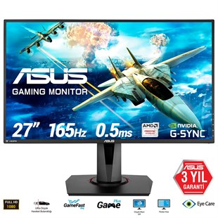 27 ASUS VG278QR GAMING FREESYNC VE G-SYNC UYUMLU 1920x1080 05MS165HZ 3YIL HD