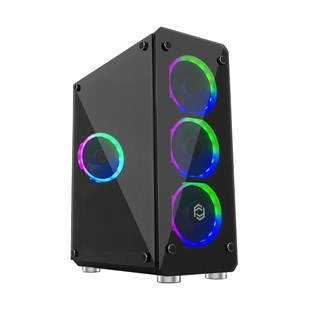 FRISBY GAMEMAX CYBER FC-9265G 400W  3 Renk Ledli Fan Gaming Midi Tower